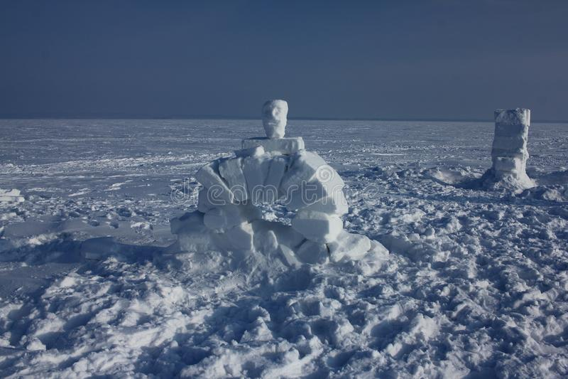 Igloo. Eskimos village. Winter dwelling of Eskimos. Igloo. Eskimos village. Winter background stock photography