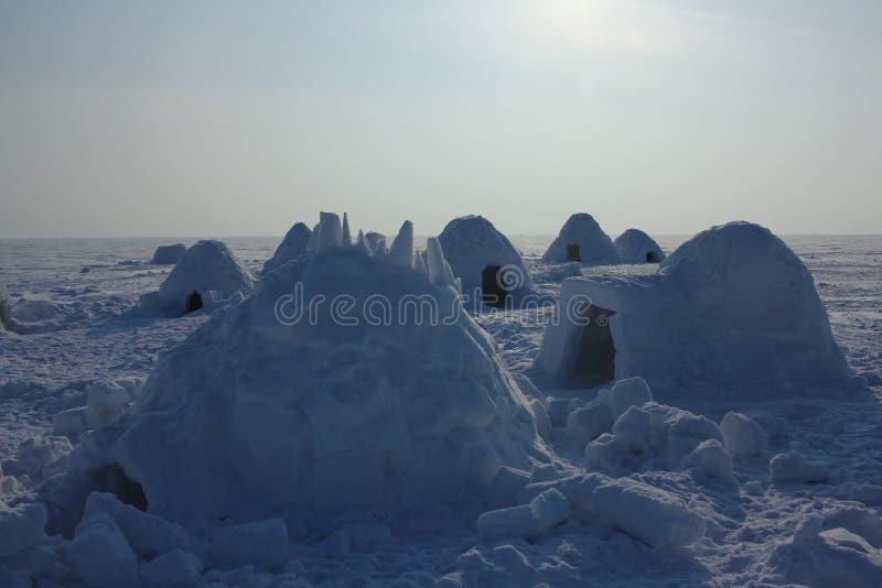 Igloo. Eskimos village. Winter dwelling of Eskimos. Igloo. Eskimos village. Winter background stock image