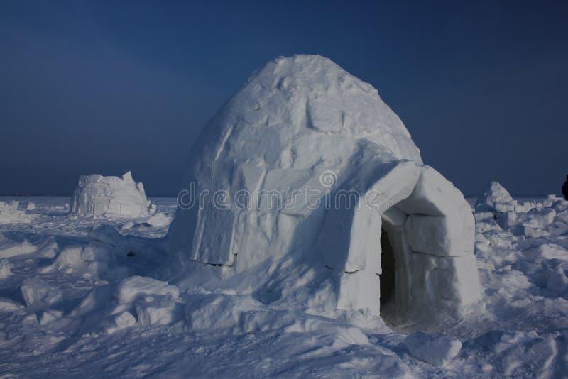Igloo. Eskimos village. Winter dwelling of Eskimos. Igloo. Eskimos village. Winter background stock photo