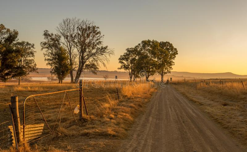 Winter early morning landscape kwaZulu-Natal South Africa. Winter farm landscape in the kwaZulu-Natal Midlands region of South Africa image with copy space stock photos