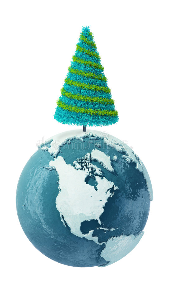 Download Winter Earth Globe With Christmas Tree Stock Illustration - Illustration: 6458653
