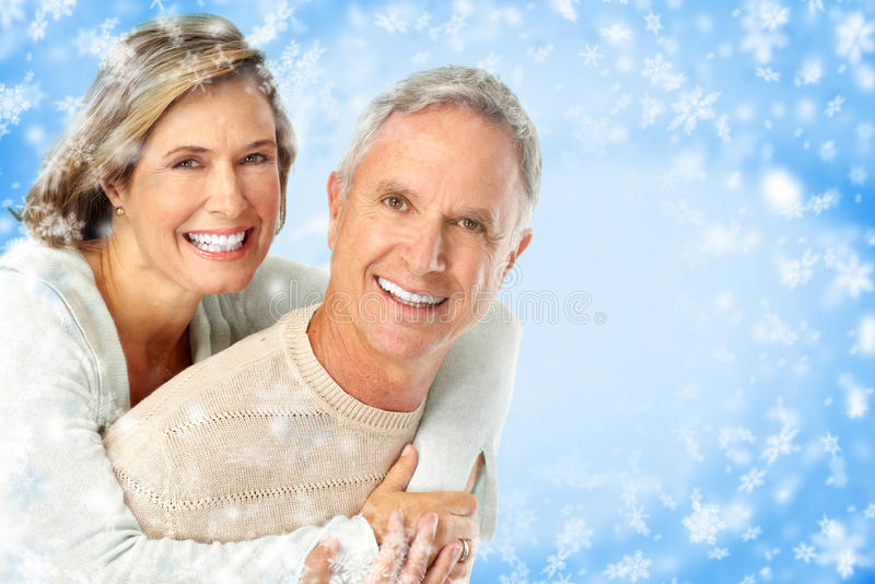 Winter elderly couple royalty free stock photo