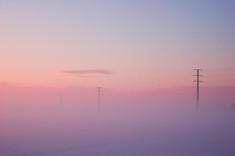 Winter electric poles stock photo