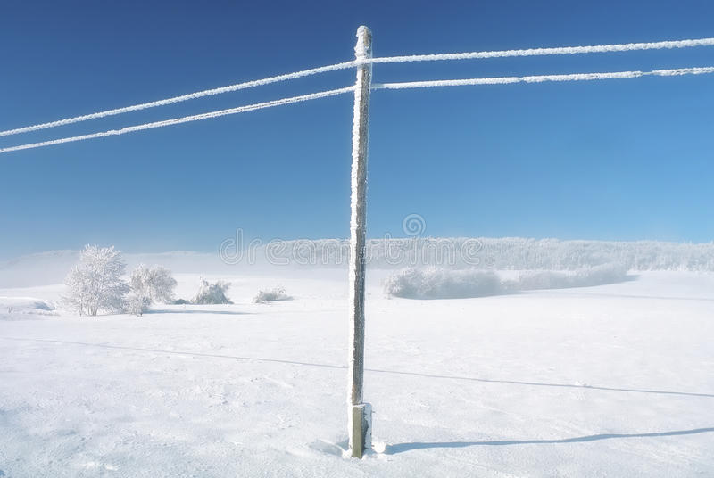 Download Winter Empty Landscape Blue Sky, Snowy Telefony Lines Stock Photo - Image of relax, lines: 28602374