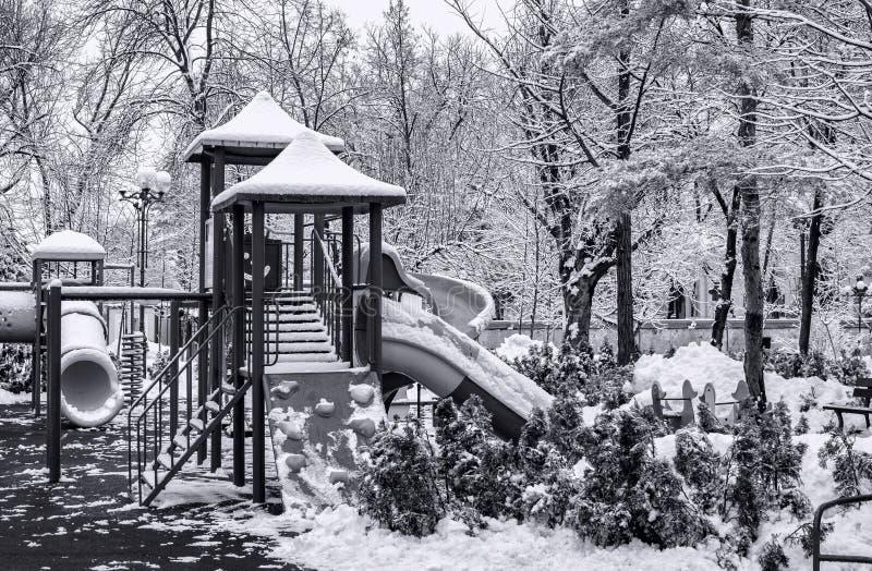 Winter empty playground royalty free stock photo
