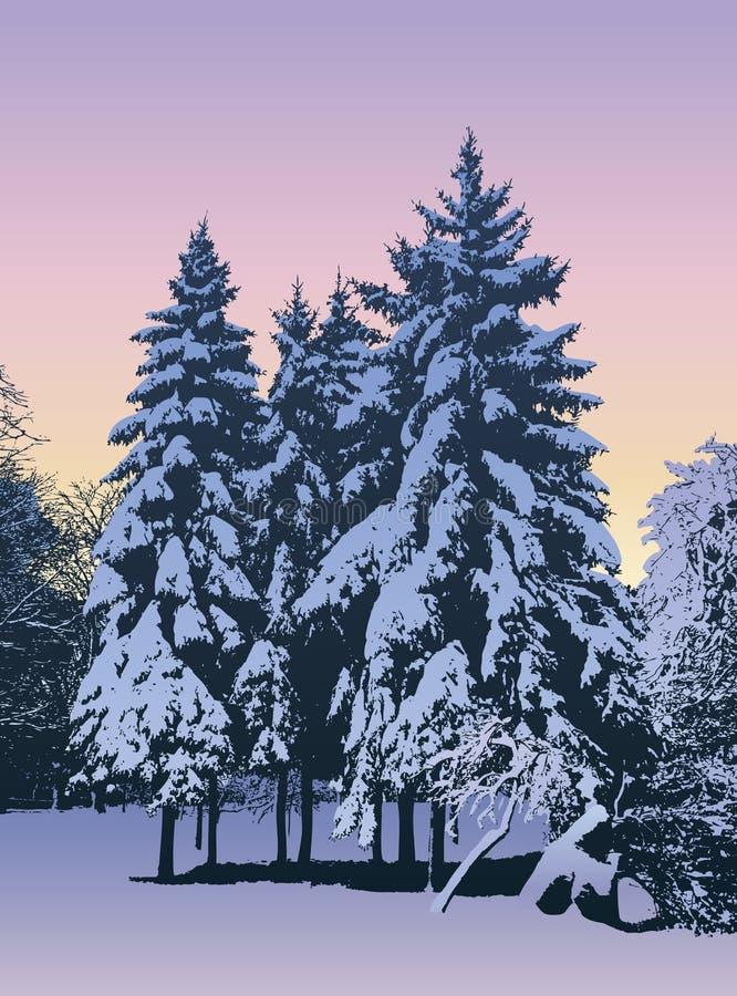Winter evening royalty free illustration