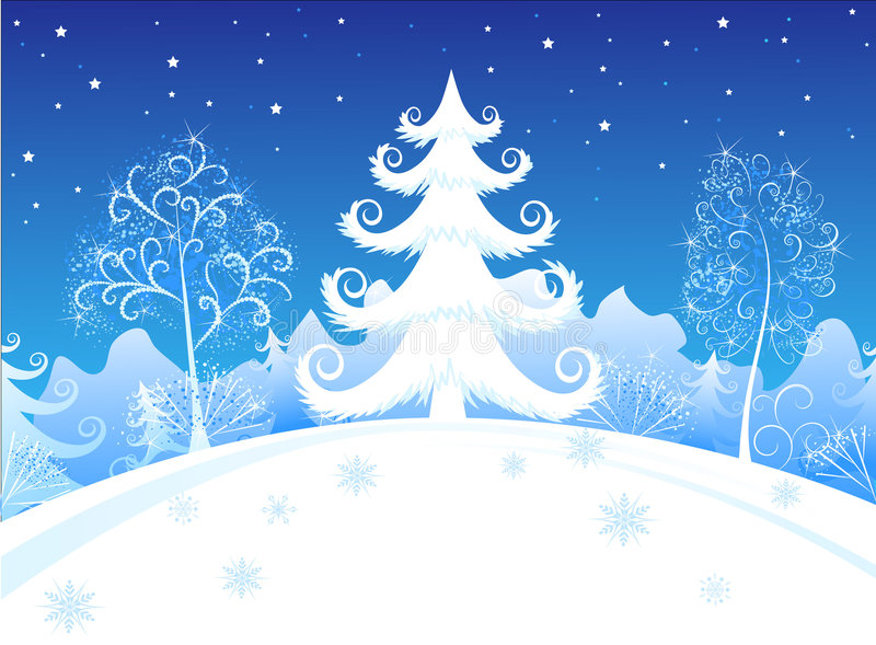 Winter evening forest. White christmas tree on a background the snow-bound winter forest stock illustration