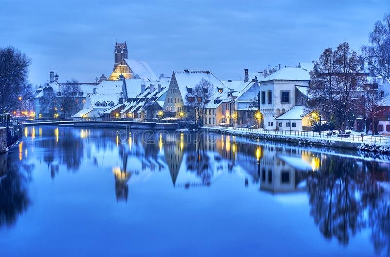 Landshut, historical town near Munich, Germany. Winter evening in Landshut, a historical german town near Munich, Germany stock image