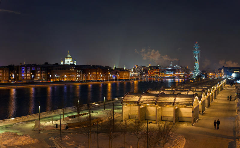 Winter evening in Moscow stock images