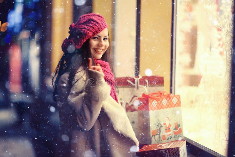 Winter evening portrait of a young girl royalty free stock images