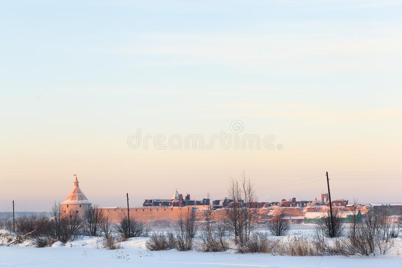 Winter evening view of historical medieval Oreshek fortress in Shlisselburg. Shlisselburg, Russia - January 12, 2013: Historical medieval Oreshek fortress is an stock images