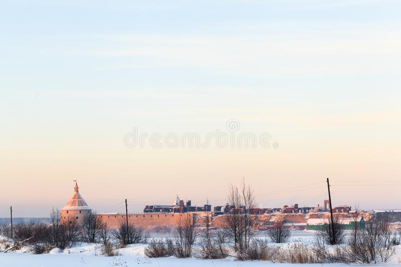 Winter evening view of Oreshek fortress in Shlisselburg, clean sky background. Shlisselburg, Russia - January 12, 2013: Historical medieval Oreshek fortress is royalty free stock photos