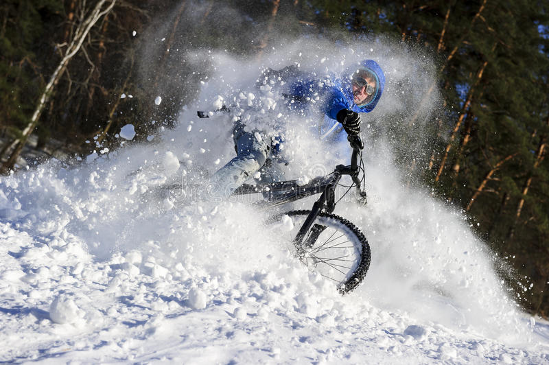 Winter extreme cycling stock photos