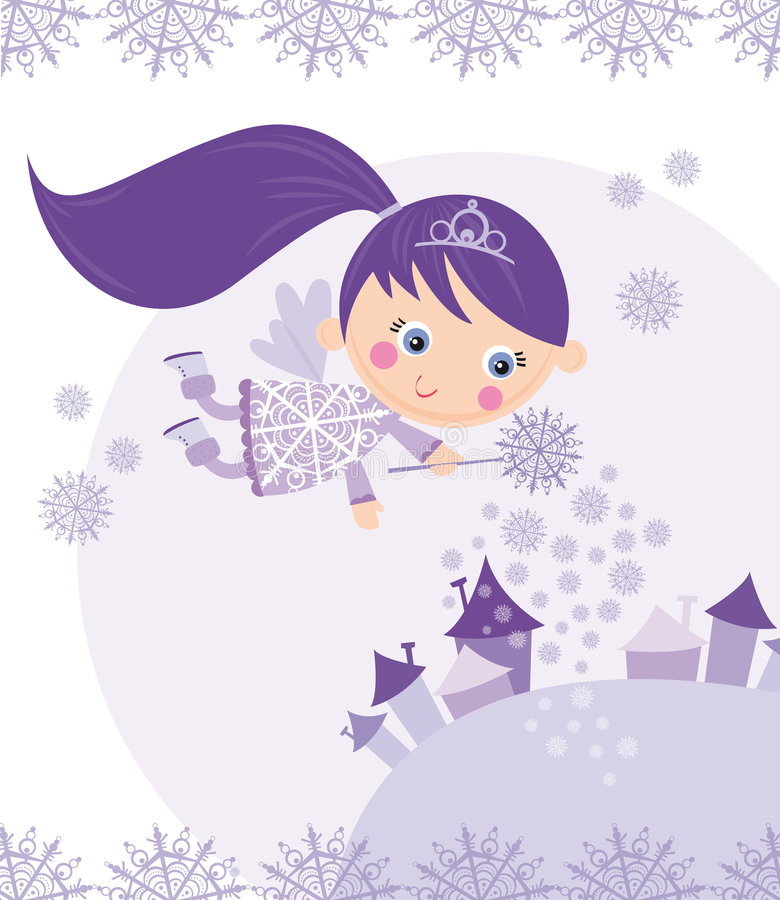 Download Winter fairy stock vector. Image of snowing, cartoon, cute - 7345929