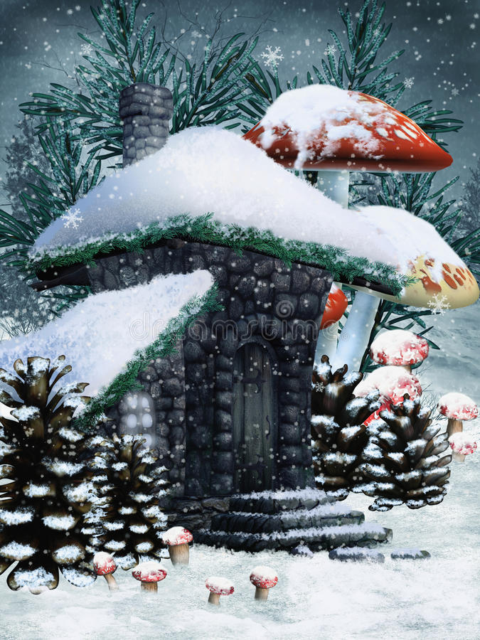 Winter fairy cottage stock photos