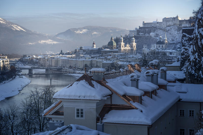 Winter fairy tale, old town of Salzburg with castle. View from Mönchsberg, Austria royalty free stock photo