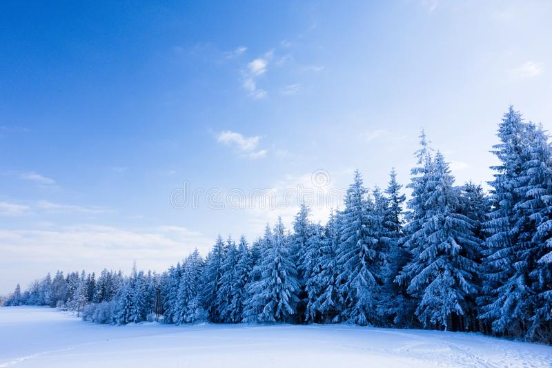 Winter fairytale forest landscape with snow covered trees and clear blue sky. Beskydy mountains royalty free stock photos