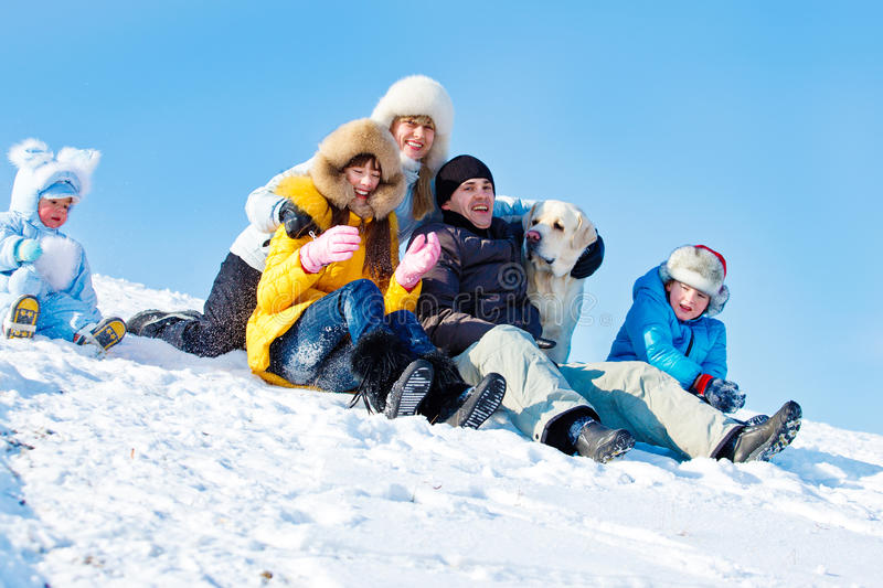 Winter family and a dog royalty free stock photos