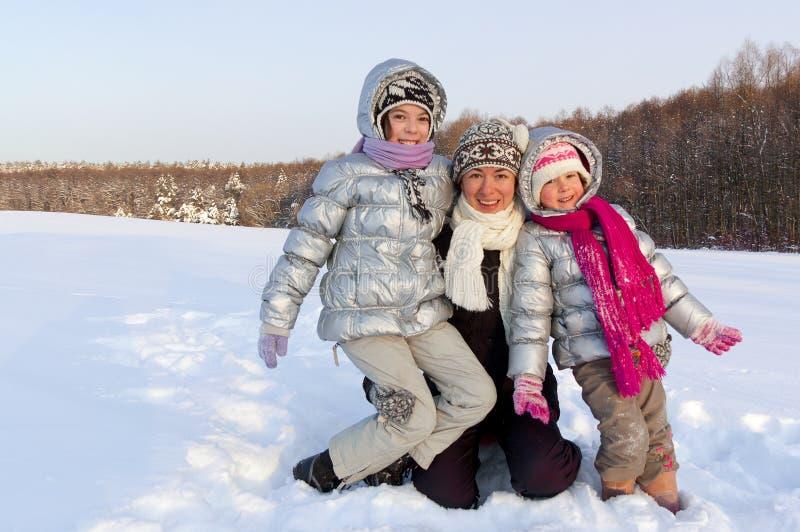 Winter family snow fun outdoors