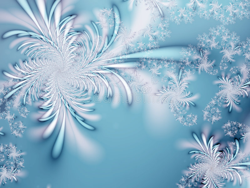 Winter fantasy. Abstract snowflakes on a blue background royalty free illustration