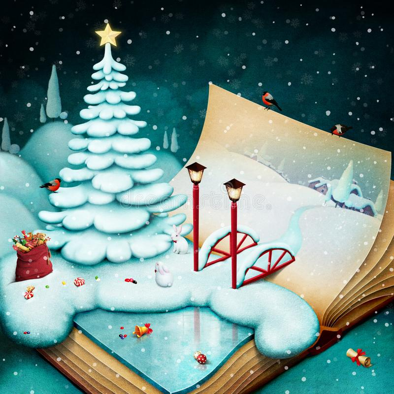 Winter fantasy in  book. royalty free illustration