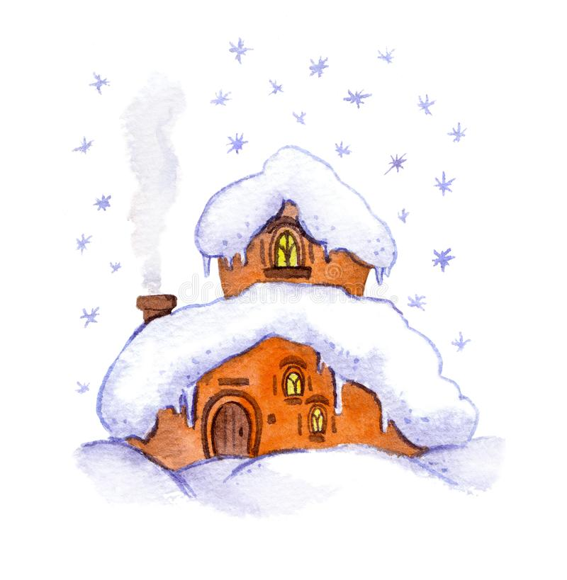 Free Winter Fantasy House. Watercolor Stock Photo - 104768270