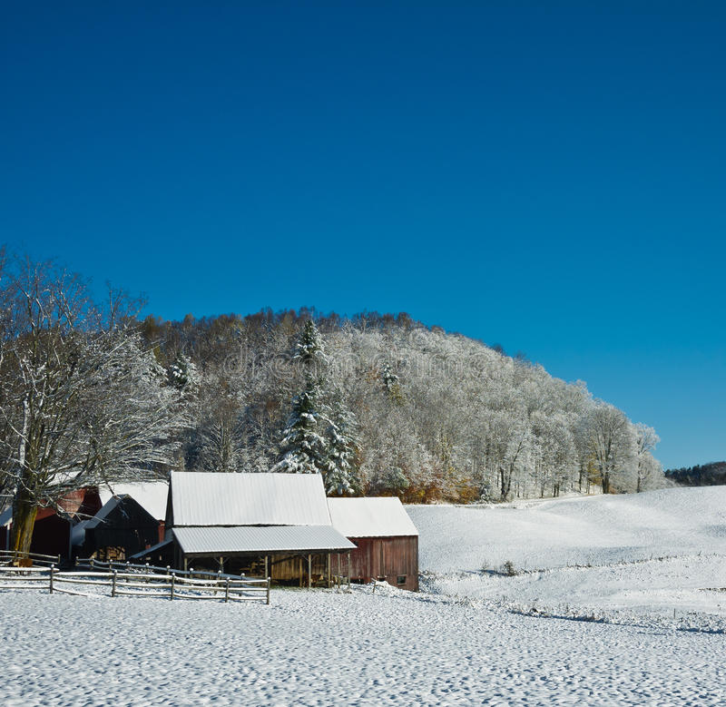 Winter on the farm royalty free stock photos