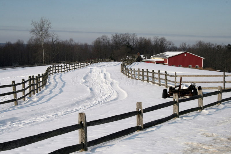 Download Winter On The Farm stock photo. Image of barn, fields - 8159692