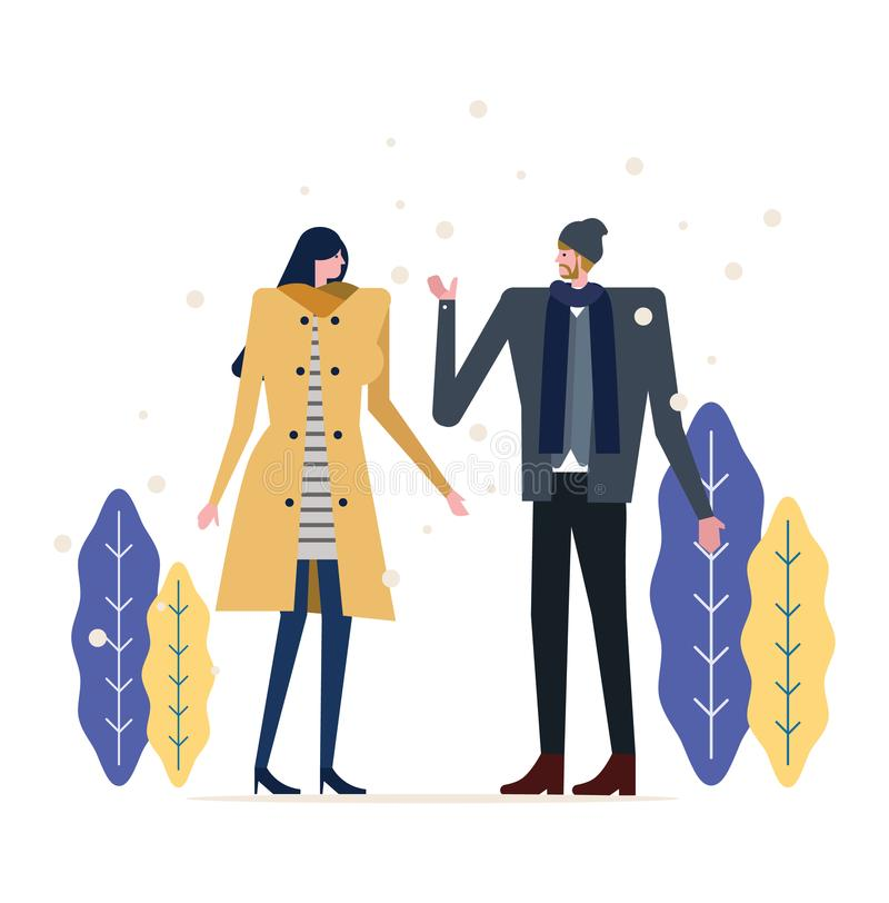 Young happy couple have fun in the park. vector illustration