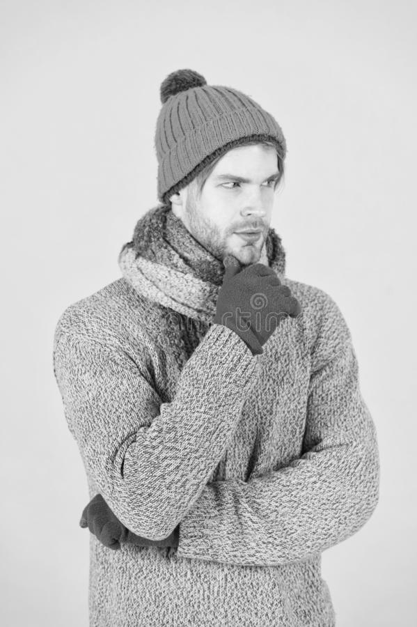 Winter fashion knitted clothes. Man knitted hat gloves and scarf winter fashion. Man wear knitted accessory turquoise stock photos