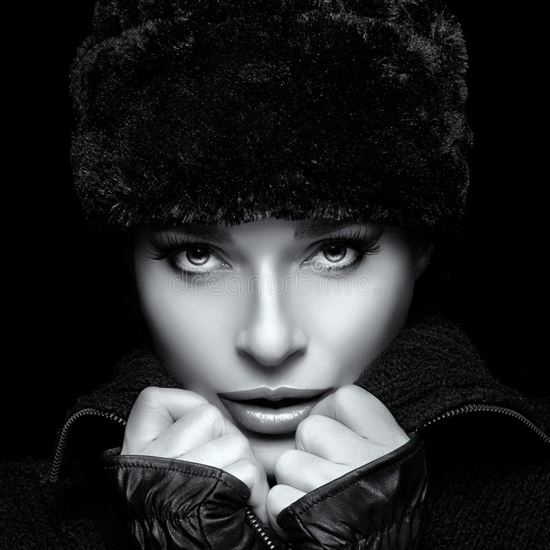 White Girl Fashion: Winter Fashion Portrait. Closeup Of Young Woman In Fur Hat