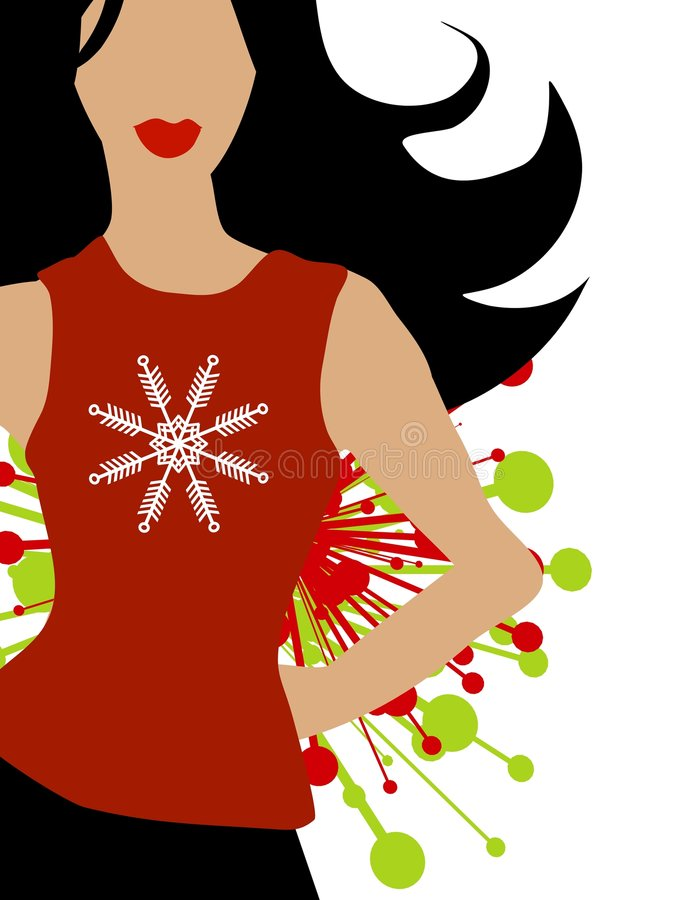 Winter Fashion Snowflake Model. A clip art illustration of a fashion model wearing a red t-shirt with snowflake royalty free illustration