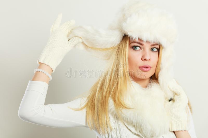 Woman wearing fashionable wintertime clothes royalty free stock images