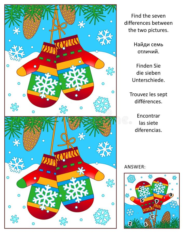 Winter find the differences picture puzzle with mittens royalty free illustration
