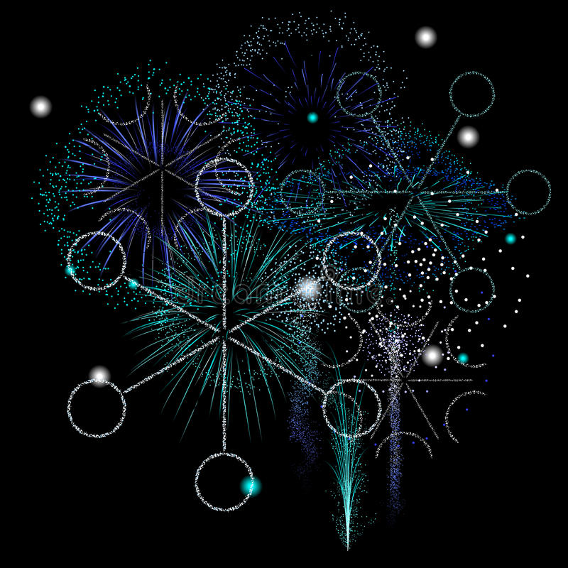 Winter fireworks. Snowflakes made of sparks in a winter fireworks display royalty free illustration
