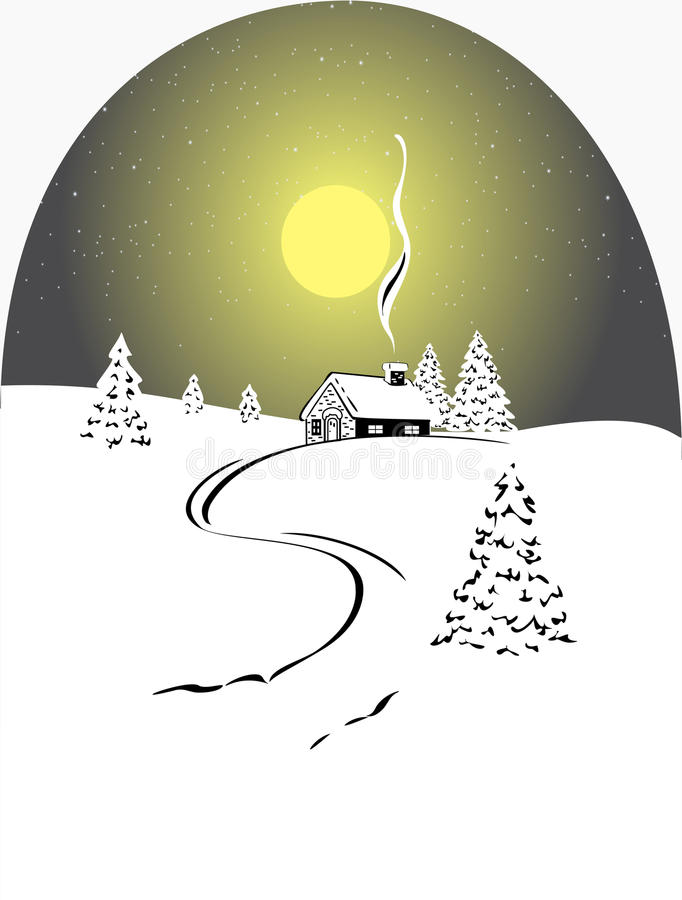 Winter Firs And House Stock Photography