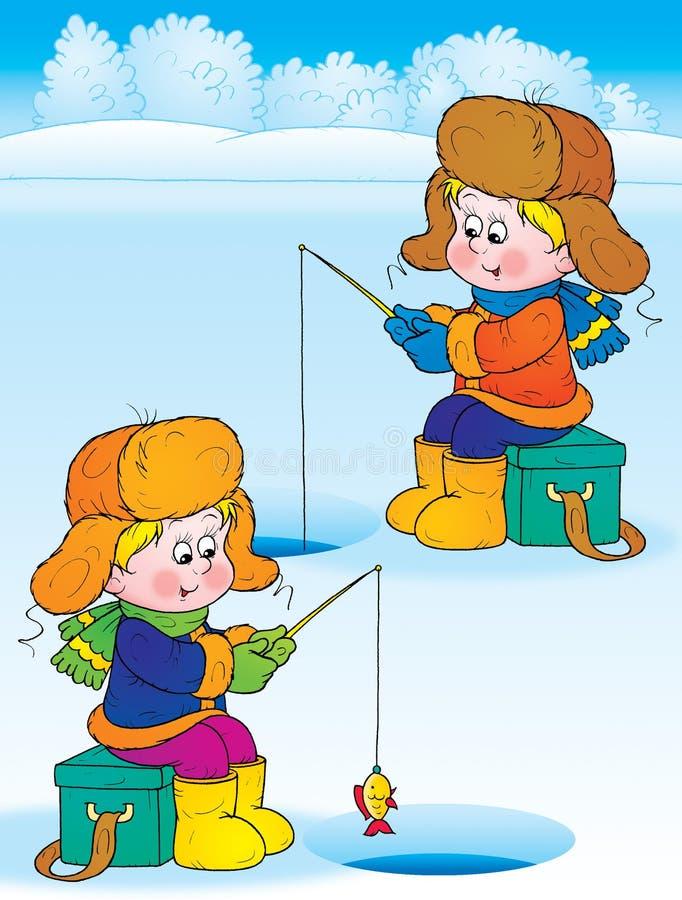 Winter fishing vector illustration