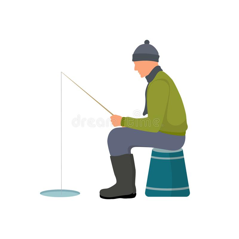 Winter Fishing Colorful Card Vector Illustration stock illustration