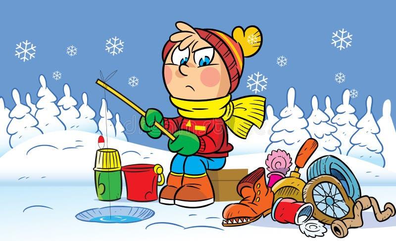 Winter fishing royalty free illustration