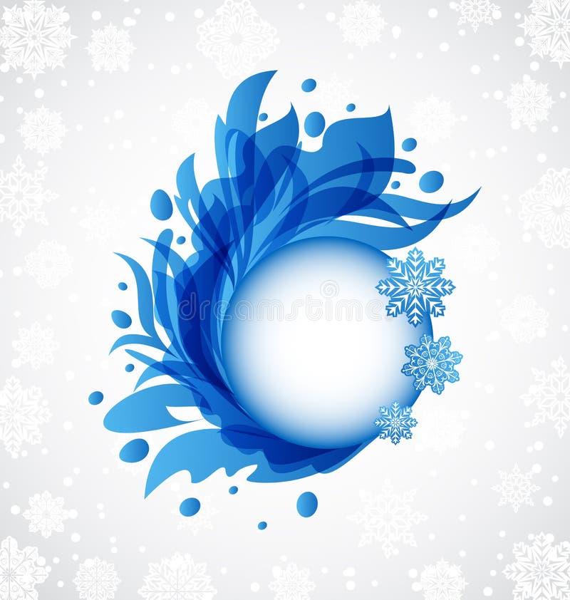 Winter floral blue transparent frame royalty free illustration