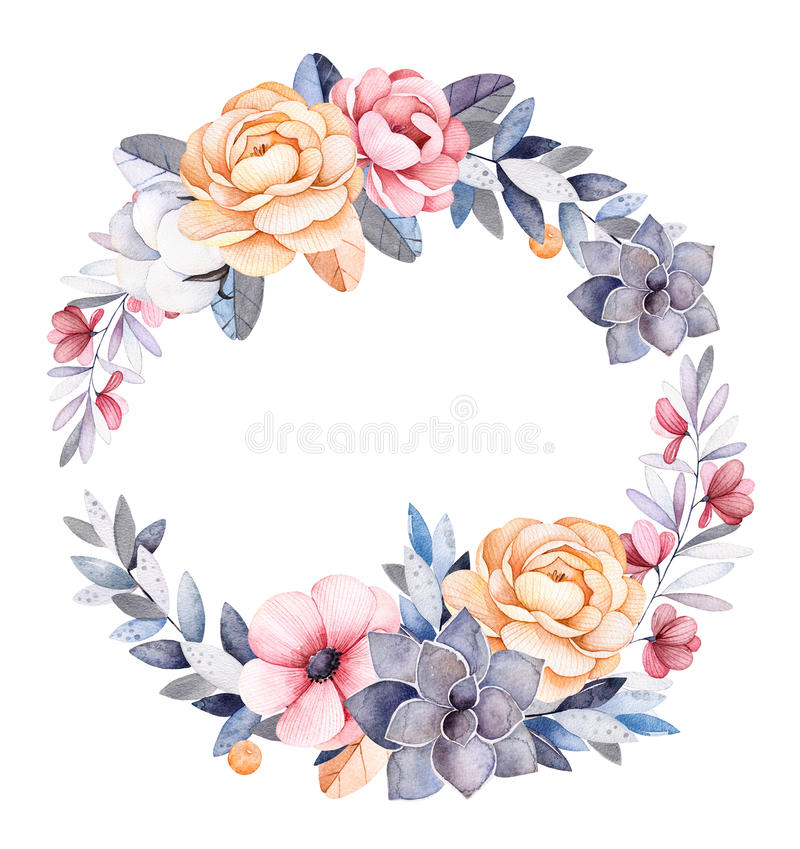 Winter floral wreath with branches,cotton plants,flowers. Succulent,colorful leaves,peonies.Moonlight collection.Perfect for wedding,frame,pattern,greeting card vector illustration