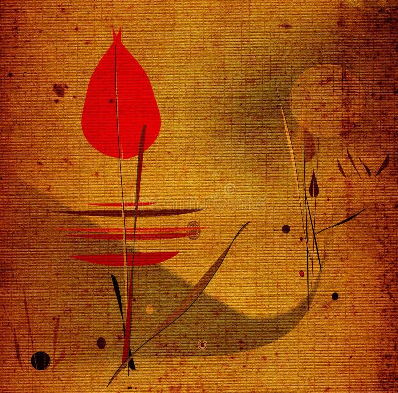 Winter flower. Grunge artistic hand drawn landscape royalty free illustration