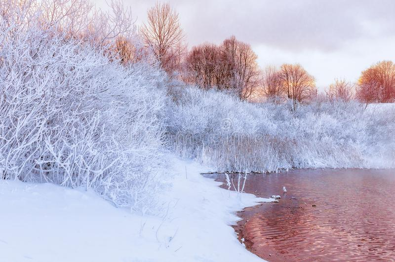 Winter-Fluss-Landschaft stockbild