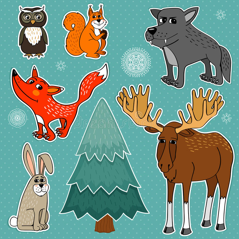 Winter forest animals royalty free illustration