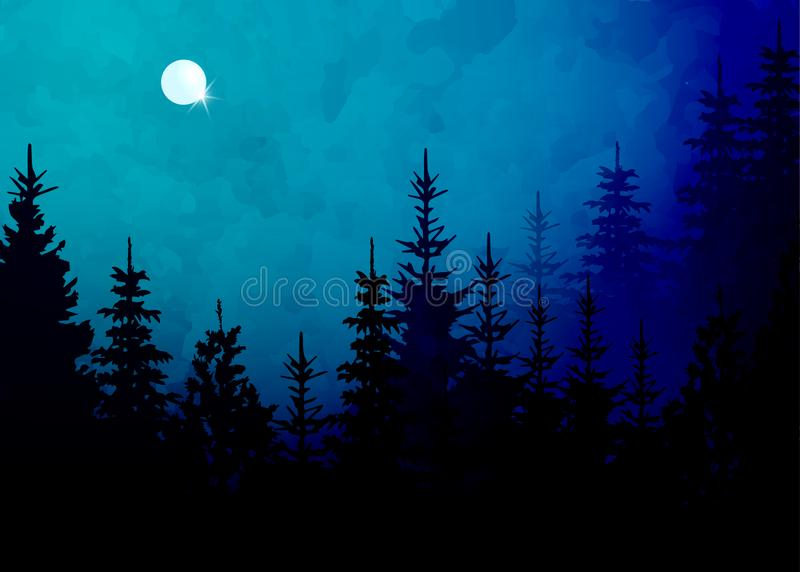 Winter forest background, vector mountain landscape. Christmas tree firs with full moon and pink sky. Watercolor Painting style. stock illustration