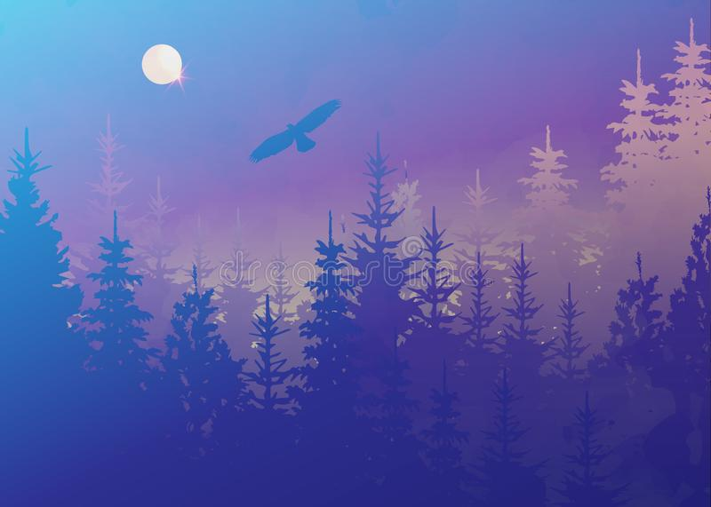 Winter forest with bald eagle in flight, light blue fog background, vector mountain landscape. Christmas tree firs with full moon stock illustration