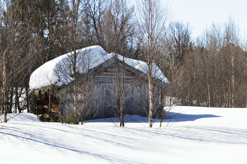 Winter Forest Cabin stock image