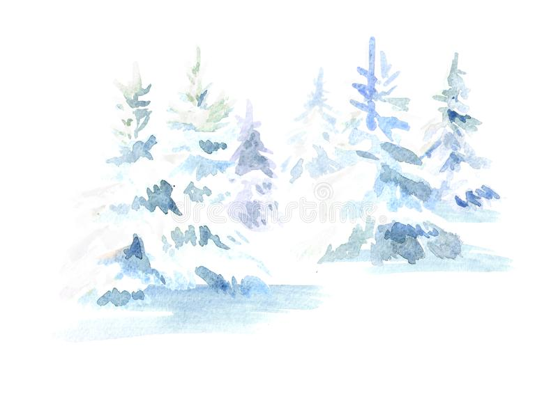 Winter forest. Christmas fir tree with snow. Watercolor hand drawn illustration, isolated on white background. vector illustration