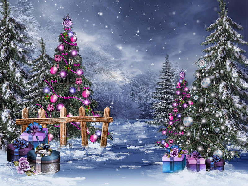 Winter forest with Christmas ornaments royalty free illustration