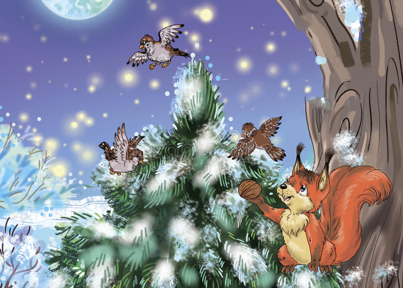 Winter forest stock illustration
